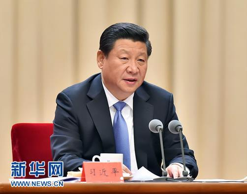 2014年10月8日,习近平在党的群众路线教育实践活动总结大会上发表重要讲话。(图片来源:新华社)