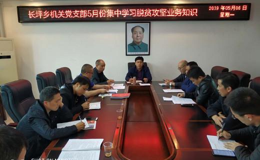 长坪乡机关党支部5月份集中学习脱贫攻坚业务知识会议