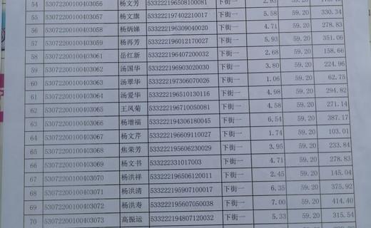 凤鸣村2019年度国家粮食补贴发放名单
